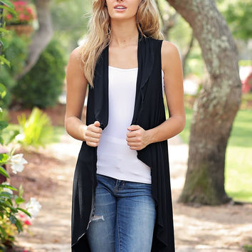 Black DLMN Long Draped Vest