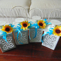 Set of 6 Sunflower Wedding,Wedding Centerpiece,Candle Lantern,Mini Lanterns,Beach wedding decor,Rustic lanterns,candle holder,rustic lantern