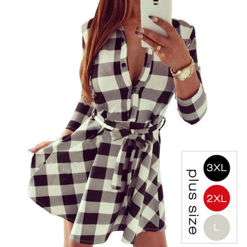 S-3XL Autumn Vintage White Black Plaid Print Shirt Dress Women  Sexy 3/4 Sleeve Winter Dresses Office Plus Size Work Wear