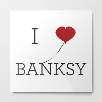 I heart Banksy Metal Print by Simple Symbol
