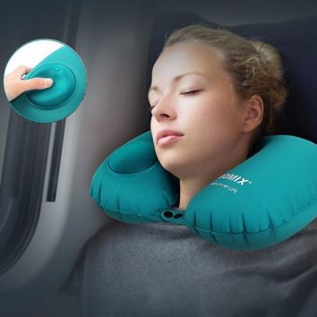 U Shape Inflatable Travel Pillow For Airplane Neck Pillows For Kids Sleeping Head Outdoor Support Portable Neck Cushion Pillow