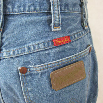 70s Wrangler Jeans, Vintage Faded Medium Blue Straight Leg Jeans Size 27 Waist