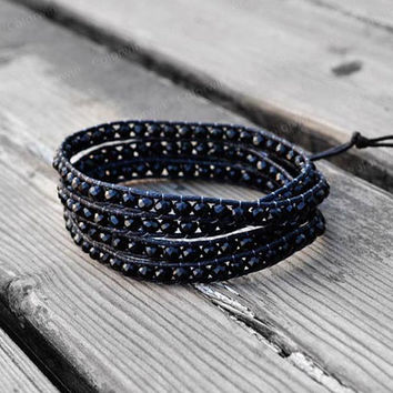4 Wrap Leather Bracelet Black Crystal Black Beads Wrap Bracelet Charm Bracelet Leather Wrap Bracelet 4mm Beaded Bracelet