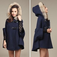 2017 Hot Womens Girl Faux Fur Shawl Wool Hooded Poncho Batwing Half Sleeve Cape Coat Winter Jacket Cloak Poncho