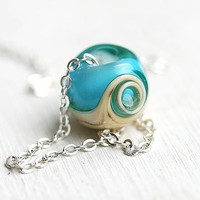 Beach necklace, Aqua blue glass pendant on silver chain, lampwork - beach jewelry - by MayaHoney