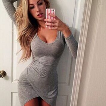 Gray Long Sleeve Asymmetrical Hem Dress