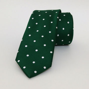 "Green Skinny Mens Tie 2.36"" (6 cm) Green spotted tie - Green spotted necktie - Green spotted cravat - DK635"