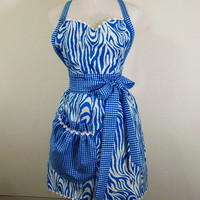 Women's Full Apron-Zebra Stripe and checks in turquise---Made in the USA