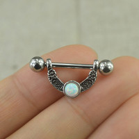 ONE nipple ring,Nipple ring opal nipple ring fire opal nipple piercing