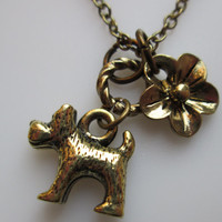 Scottish Terrier Scottie Charm Necklace in Antique Gold Finish