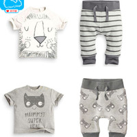 New Born Baby Clothes Cotton Little Monsters+Lion T-Shirt Pant 2pcs Baby Boys Clothing Set  Summer Infant Baby Boy Clothes