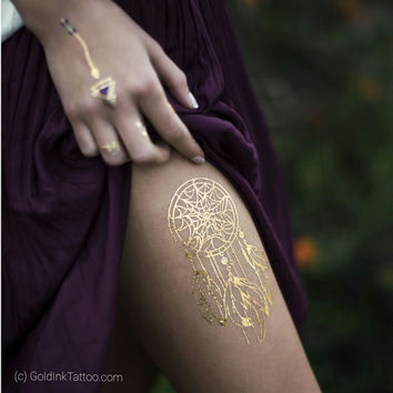 DREAM CATCHER TEMPORARY Tatoo, fake tattoo,  flash tattoo, flower tattoo, Gold Dream Catcher Metallic Temporary Jewelry Tattoo