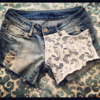 Low rise lace shorts with distressing by ToxxicCouture on Etsy