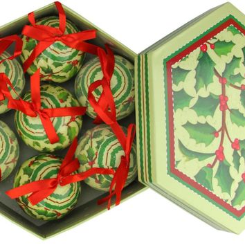 7-Piece Red and Green Holly Berry Decoupage Shatterproof Christmas Ball Ornament Set 2.75""