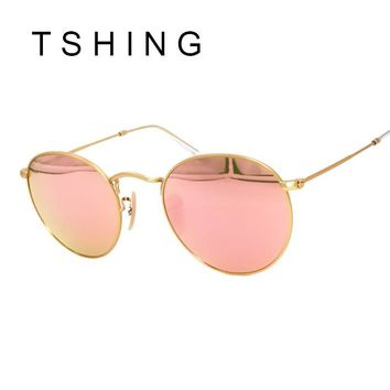 TSHING Vintage Small Round Sunglasses Women Men Classic Brand Designer Metal Pink Retro Mirror Sun Glasses Female Lady UV400 R