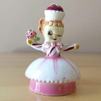Vintage Scarce Lefton Sweet Shoppe Cupcake Girl Ceramic Figurine - Made in Japan