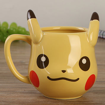 Anime Game Pokemon Pocket Monsters Pikachu Coffee Mug Creative Cute Ceramic Coffee Cup for Friend Gift