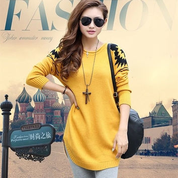 Women Winter Ladies PLUS SIZE Loose Pullover Knitted Sweater Sweaters = 1946088772