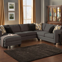A.M.B. Furniture & Design :: Living room furniture :: Sofas and Sets :: Sectional Sofas :: 3 pc Oasis collection Ebony color fabric upholstered sectional sofa with square arms and chaise
