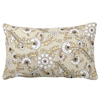 Indonesian Floral Latte Lumbar Pillow