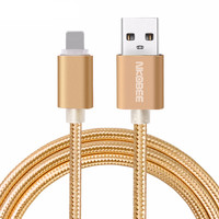 Luxury Metal Braided Mobile Phone Cables Charging USB Cable Charger Data For iPhone 5 5S 6S 6 6 plus 7 7 Plus accessories