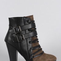 Qupid Strappy Corset Buckle Almond Toe Heeled Booties
