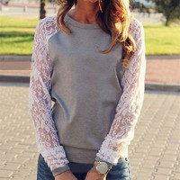 Lace Blouse O Neck Casual Long Sleeve