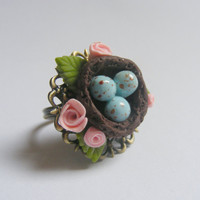Little Birds Nest Miniature Ring  Miniature Food by NeatEats