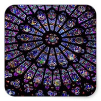 Purple Stained Glass Church Window Square Sticker
