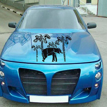 Car Hood Vinyl Decal Graphics Stickers Art Mural Elephant and Palm Trees KJ346