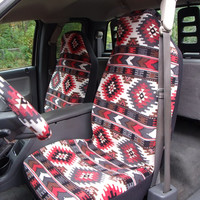 1 Set of Prairie Winds Brown Print Seat Cover and  Steering Wheel Cover Custom Made.