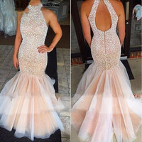 Heavy Beading Pearls Cheap Mermaid Prom Dresses 2016 Vestidos De Festa Halter Backless Long Evening Gown Pageant Party Dress