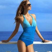 2017 One Piece Swimsuit Brazilian Bikini Set Sexy Tankini Set Beachwear Plus Size Swimwear Women Bathing Suit YY379