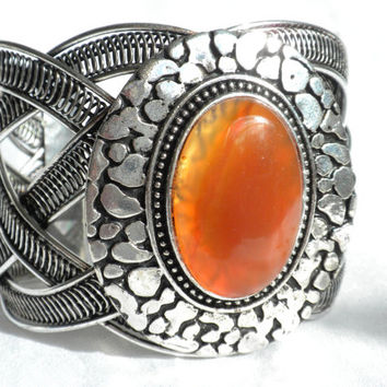 Brutalist Bracelet Carnelian Agate Antiqued Silver Tone Wirework Cuff Bracelet Semi Precious Jewelry Hipster Jewelry Gift for Teen Girl
