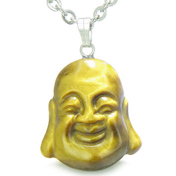 Amulet Happy Laughing Buddha Lucky Charm Tiger Eye Evil Eye Powers Pendant 18 Inch Necklace