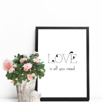 Love art print, Love wall art PRINTABLE, Love poster, Love is all you need sign,  Gallery wall prints, Love quote print, Word art for walls