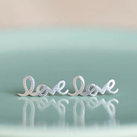 LOVE Earrings Silver LOVE Studs Friendship Posts Letter by matoto