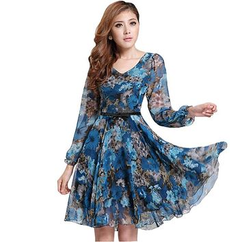 Women's Floral Print Vintage Dress Plus Size Sweet Lady Long Sleeve V Neck Casual Summer Chiffon Chinese Style Dress