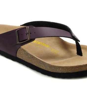 Birkenstock Birki Sandals Artificial Leather Purple - Ready Stock