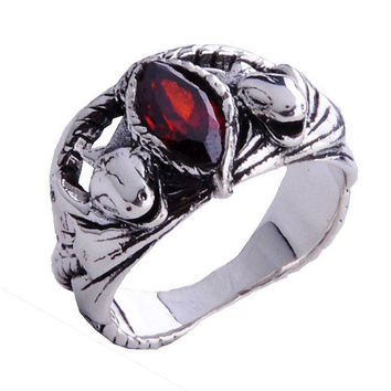 Natural Red Corundum Gemstone .925 Silver Lord of the Rings Jewelry for Men-Size 5