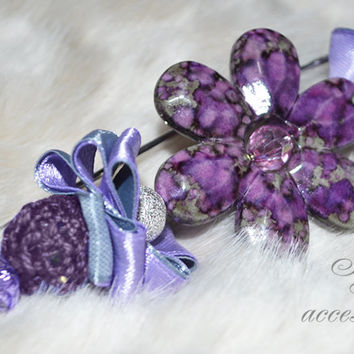 Fashion hand-decorated safety pin to adorn Hats and Jackets, close Cardigan and Scarves - Color Violet and Gray (SPL18)