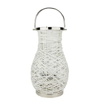 "18.5"" Modern White Decorative Woven Iron Pillar Candle Lantern with Glass Hurricane"