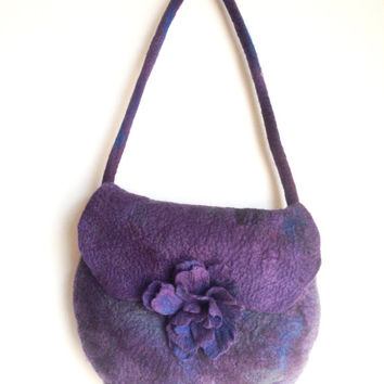 Handbag in Purple Aubergine and Grey. Handmade Felt. Purple bag Wool, Shoulder Messenger bag, felt bag felt flower, Felt flower bag.