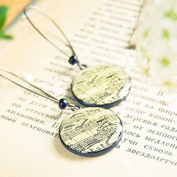 Sheet music earrings polymer clay by Lepun on Etsy