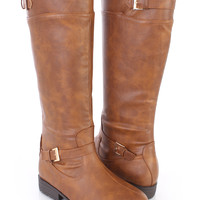 Camel Mid Calf Riding Boots Faux Leather