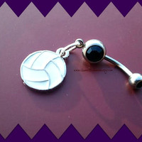 Volleyball Belly Ring,Athletic Jewelry,Preppy,Navel Piercing,Team Sports,Ready to Ship