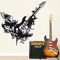 Wall Decal Vinyl Sticker Decals Art Decor Design Guitar Electro Music Live Band Rock Star Wings Pattern Damask Mans Gift Bedroom Dorm (r357)