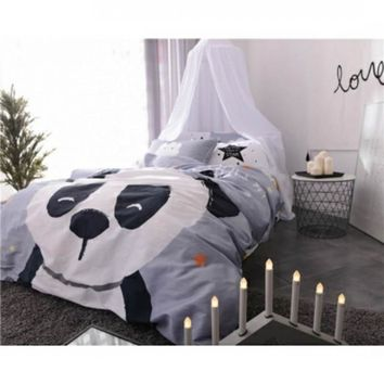 Cute Panda Printed Bedding Set Kids Gray Bedspread Duvet Cover Set Comfortable 100% Cotton Bed Set with Flat Sheet 4Pcs