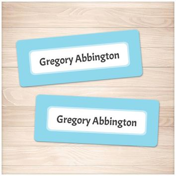 Blue Border Name Labels for School Supplies - Printable