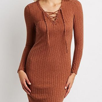 Ribbed Lace-Up Bodycon Midi Dress | Charlotte Russe